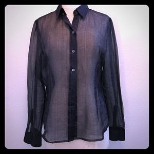 The limited sheer purple glitter button down L